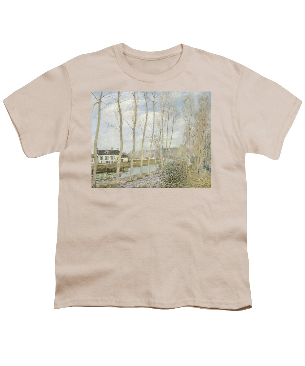 Alfred Sisley Youth T-Shirt featuring the painting The Loing's Canal by Alfred Sisley