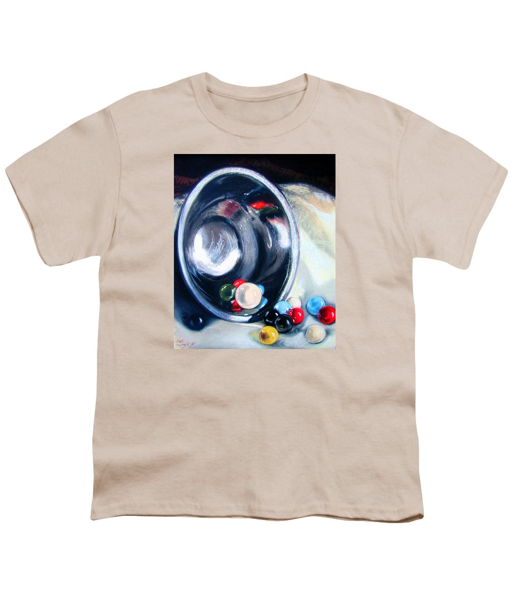 Marbles Youth T-Shirt featuring the pastel The Marble Bowl by Leyla Munteanu