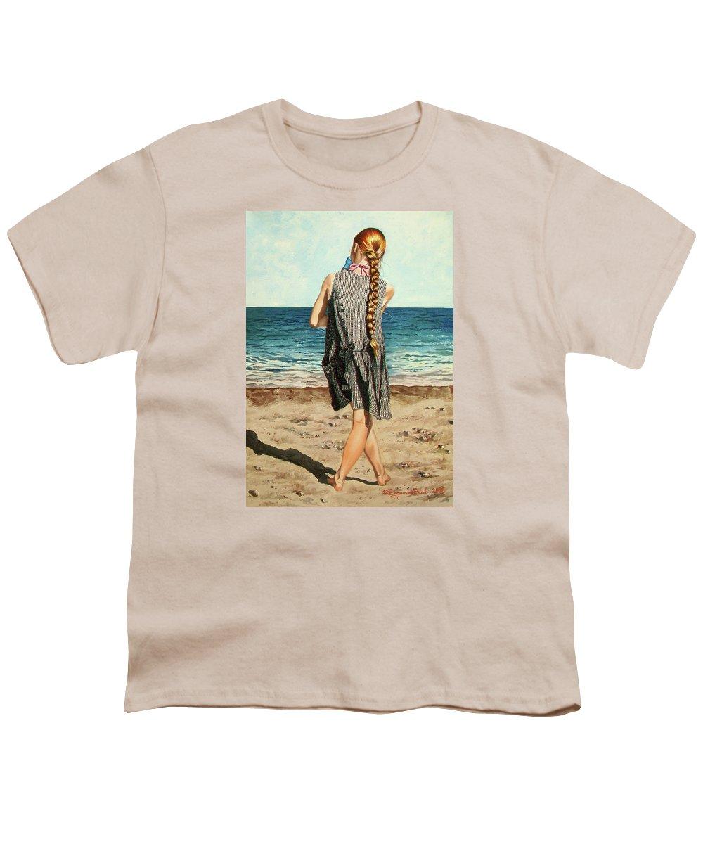 Sea Youth T-Shirt featuring the painting The Secret Beauty - La Belleza Secreta by Rezzan Erguvan-Onal