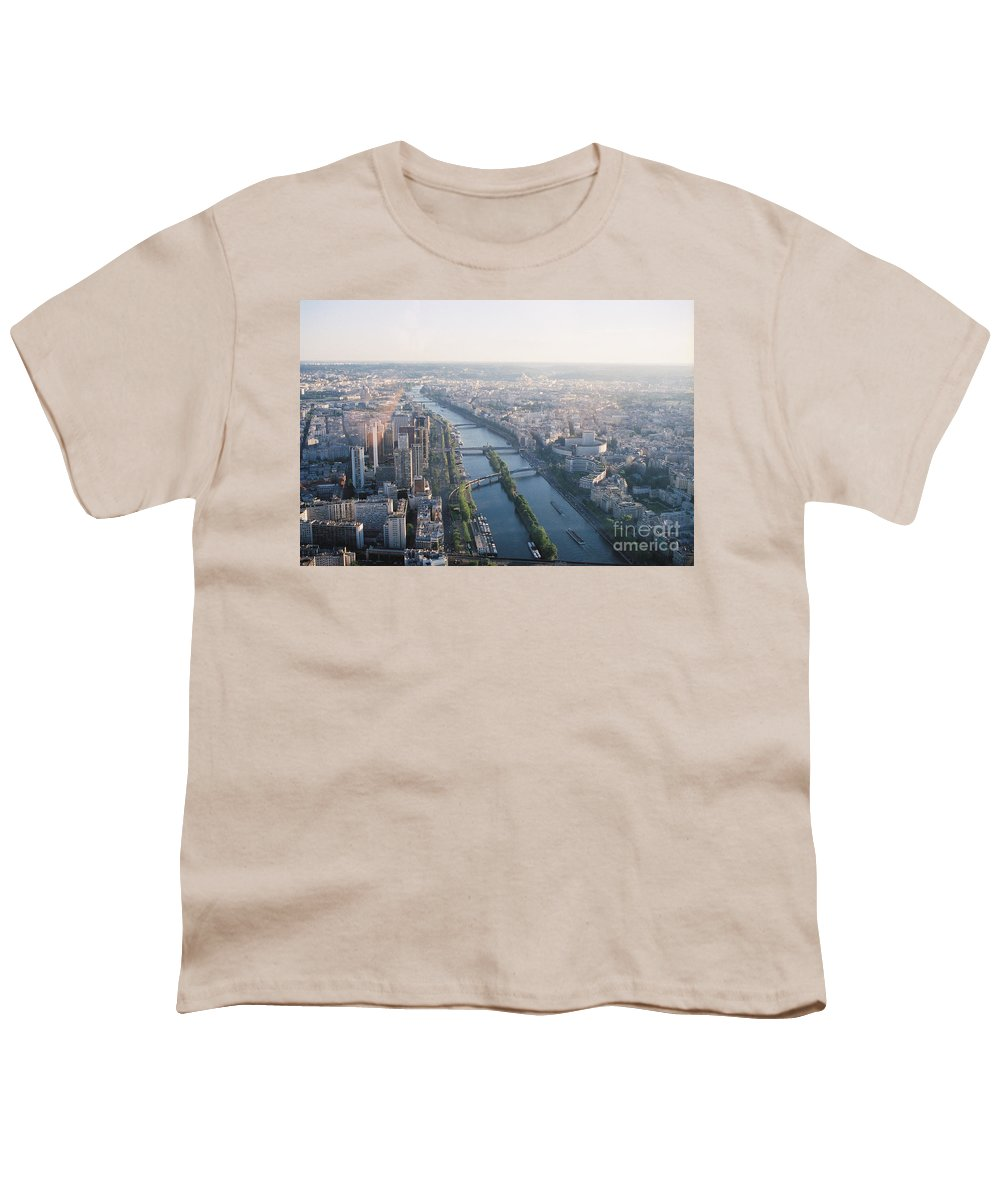 City Youth T-Shirt featuring the photograph The Seine River In Paris by Nadine Rippelmeyer