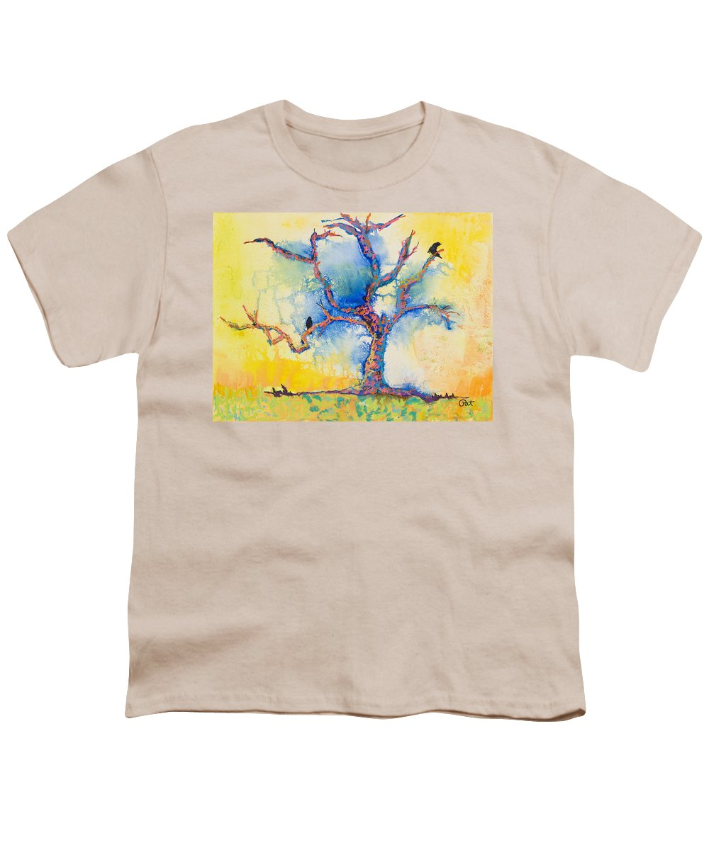 Abstract Painting Youth T-Shirt featuring the mixed media The Wind Riders by Pat Saunders-White