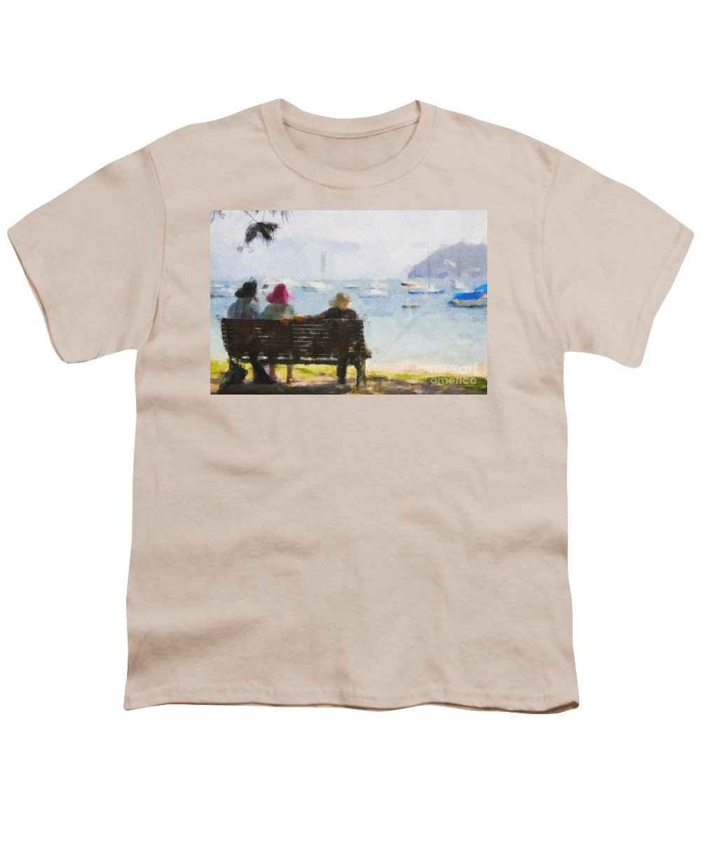 Impressionism Impressionist Water Boats Three Ladies Seat Youth T-Shirt featuring the photograph Three Ladies by Sheila Smart Fine Art Photography