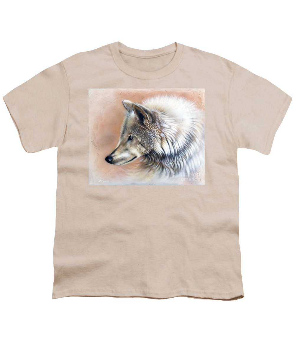Wolves Youth T-Shirt featuring the painting Trace IIi by Sandi Baker