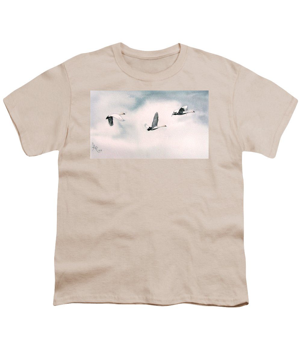 Swans Youth T-Shirt featuring the painting Trumpeters by Gale Cochran-Smith