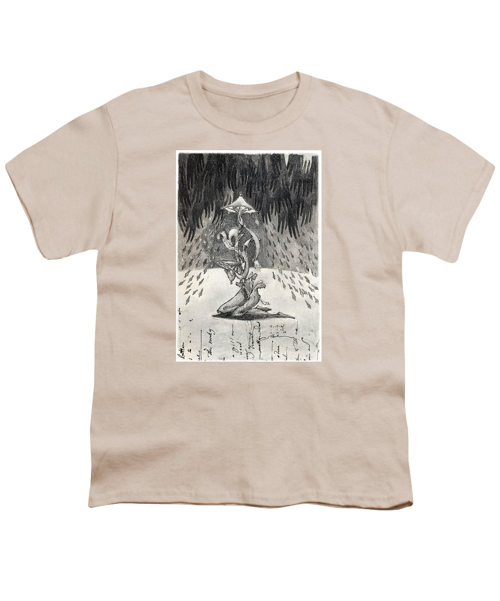 Umbrella Youth T-Shirt featuring the drawing Umbrella Moon by Juel Grant
