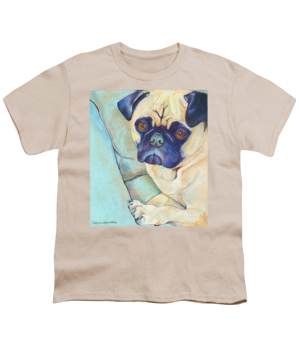Pug Youth T-Shirt featuring the pastel Valentino by Pat Saunders-White