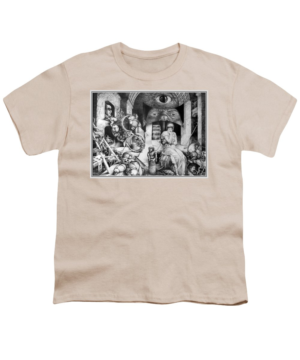 Surrealism Youth T-Shirt featuring the drawing Vindobona Altarpiece IIi - Snakes And Ladders by Otto Rapp