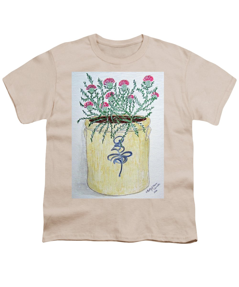 Vintage Youth T-Shirt featuring the painting Vintage Bee Sting Crock And Thistles by Kathy Marrs Chandler