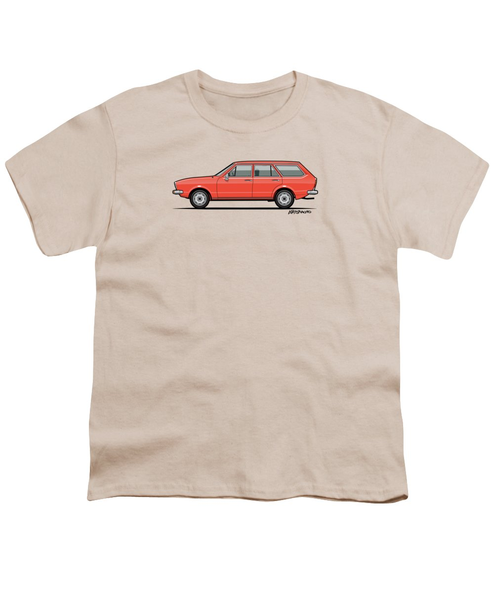 Car Youth T-Shirt featuring the digital art Volkswagen Dasher Wagon / Vw Passat B1 Variant by Monkey Crisis On Mars