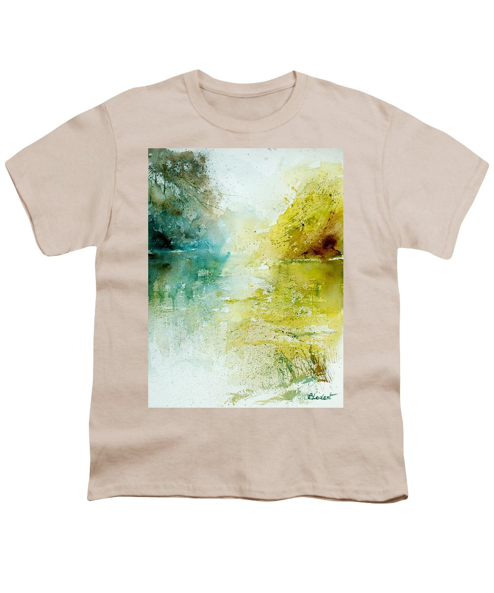 Pond Nature Landscape Youth T-Shirt featuring the painting Watercolor 24465 by Pol Ledent
