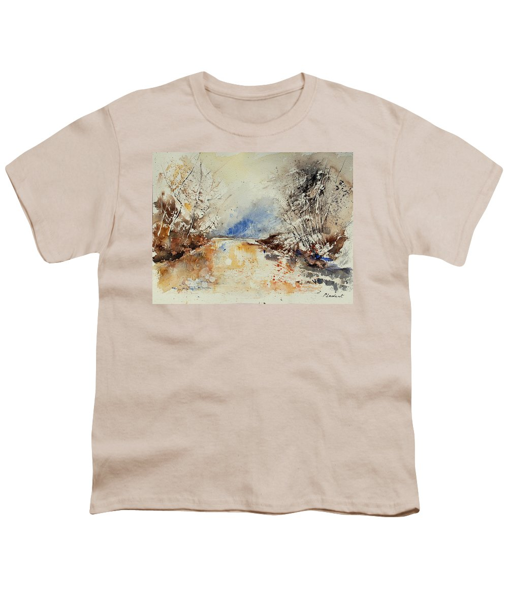 Water Youth T-Shirt featuring the painting Watercolor 903002 by Pol Ledent