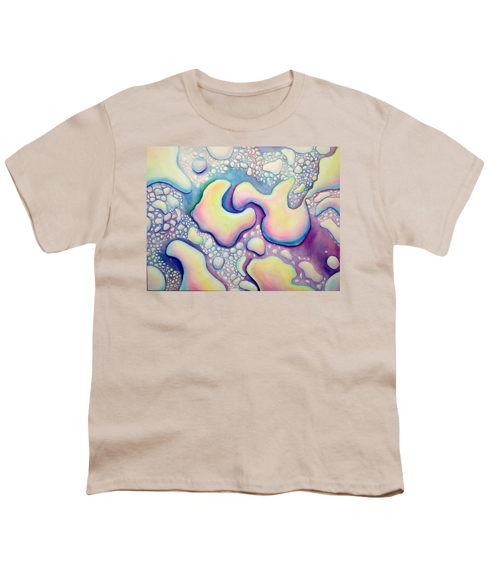 Water Youth T-Shirt featuring the painting Waterdrop Dance by Nancy Mueller