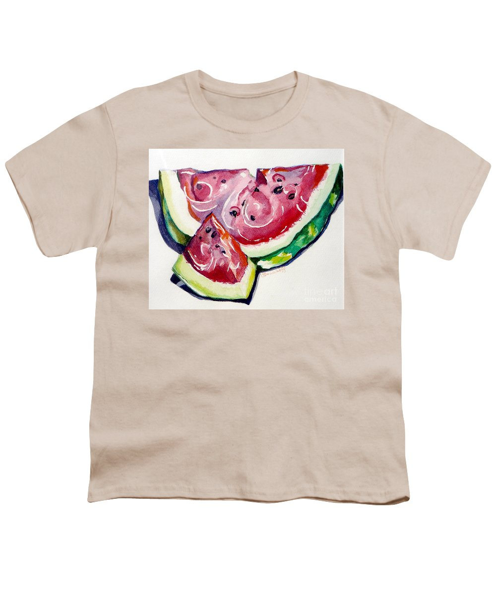 Still Life Youth T-Shirt featuring the painting Watermelon by Jan Bennicoff