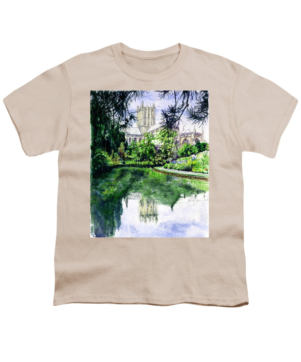 Wells Youth T-Shirt featuring the painting Wells Cathedral by John D Benson