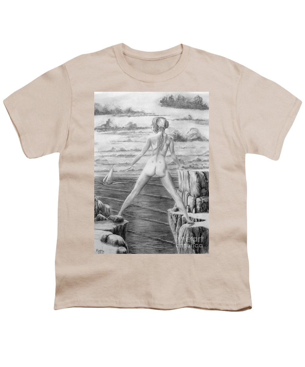 Nude Youth T-Shirt featuring the drawing Wendy From Memory. by Murphy Elliott