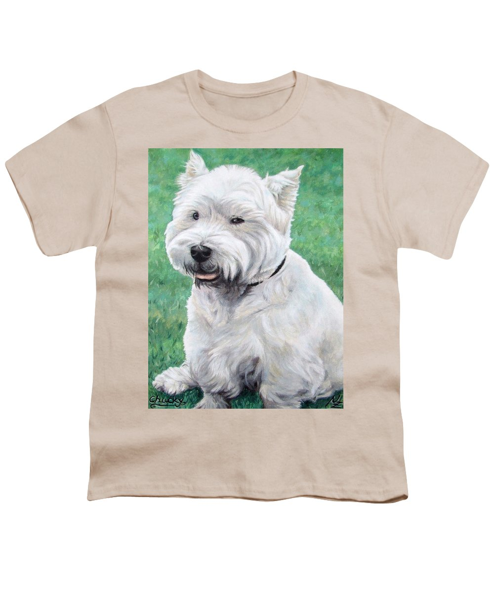 Dog Youth T-Shirt featuring the painting West Highland Terrier by Nicole Zeug
