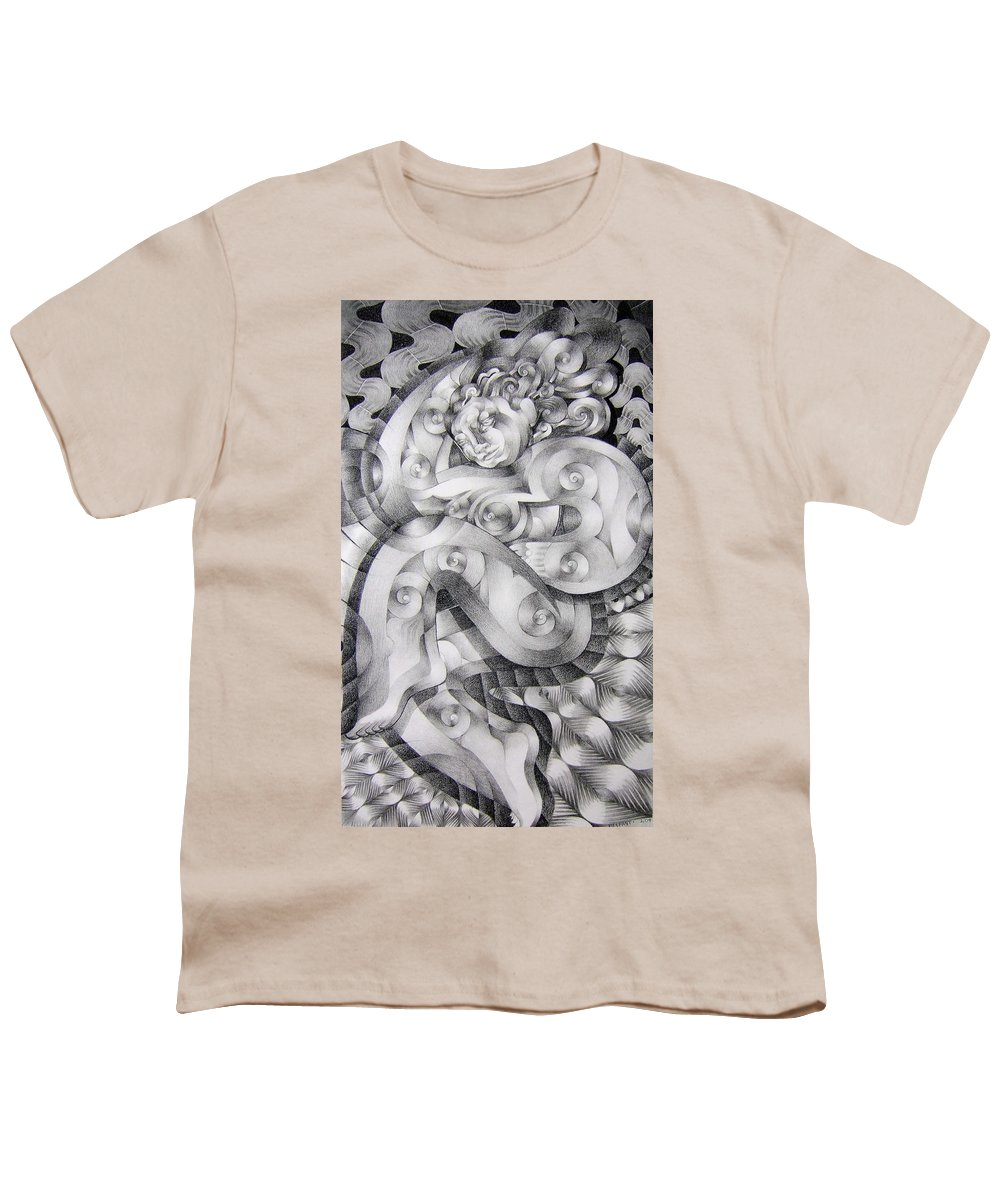 Art Youth T-Shirt featuring the drawing Whim by Myron Belfast