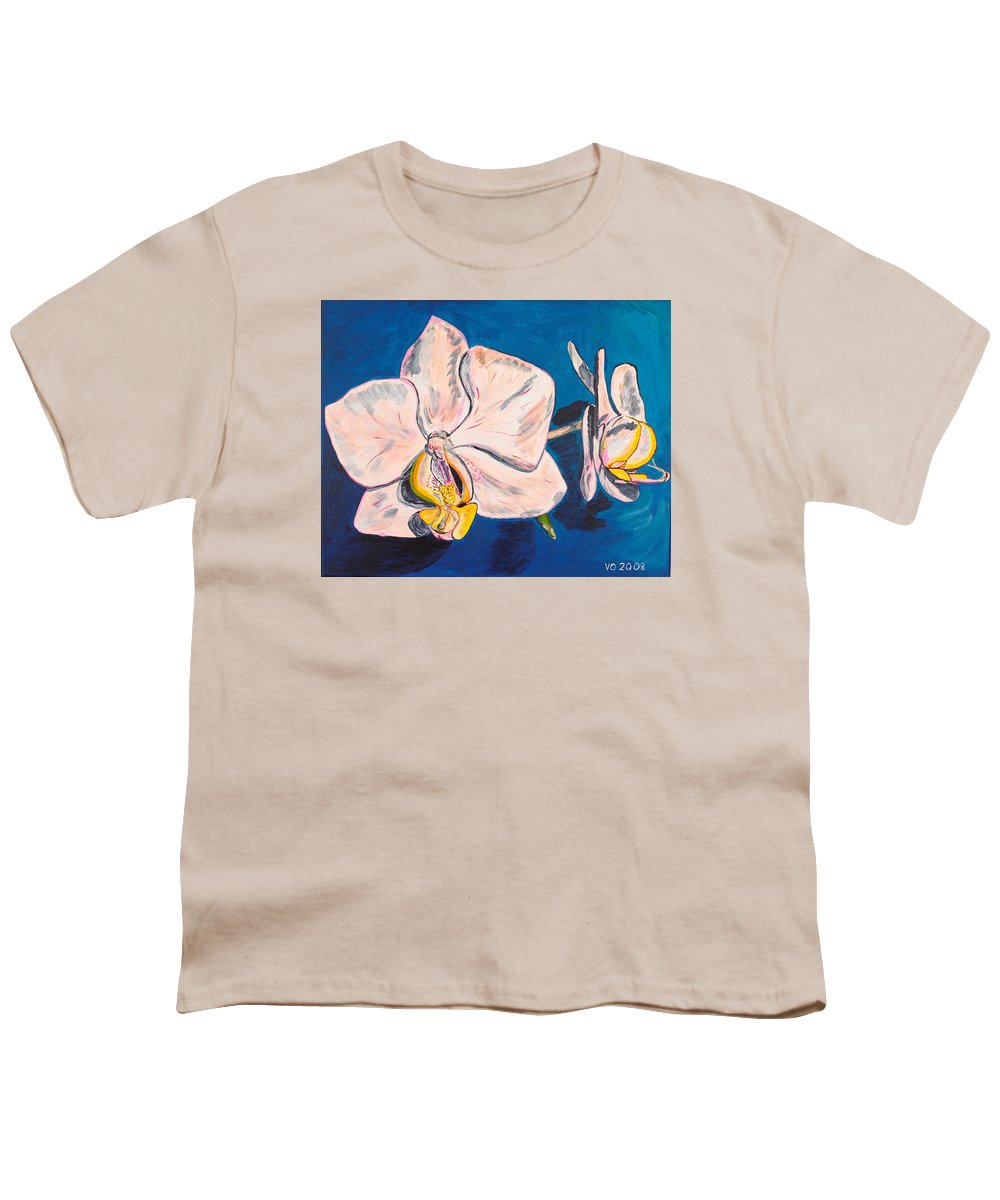 Flower Youth T-Shirt featuring the painting White Phalaenopsis Orchids by Valerie Ornstein