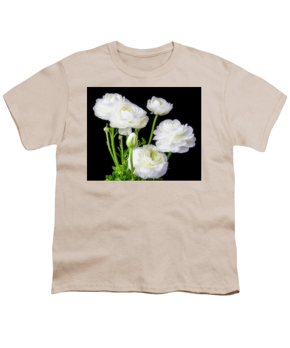 White Ranunculus Flowers Youth T Shirt For Sale By Garry Gay