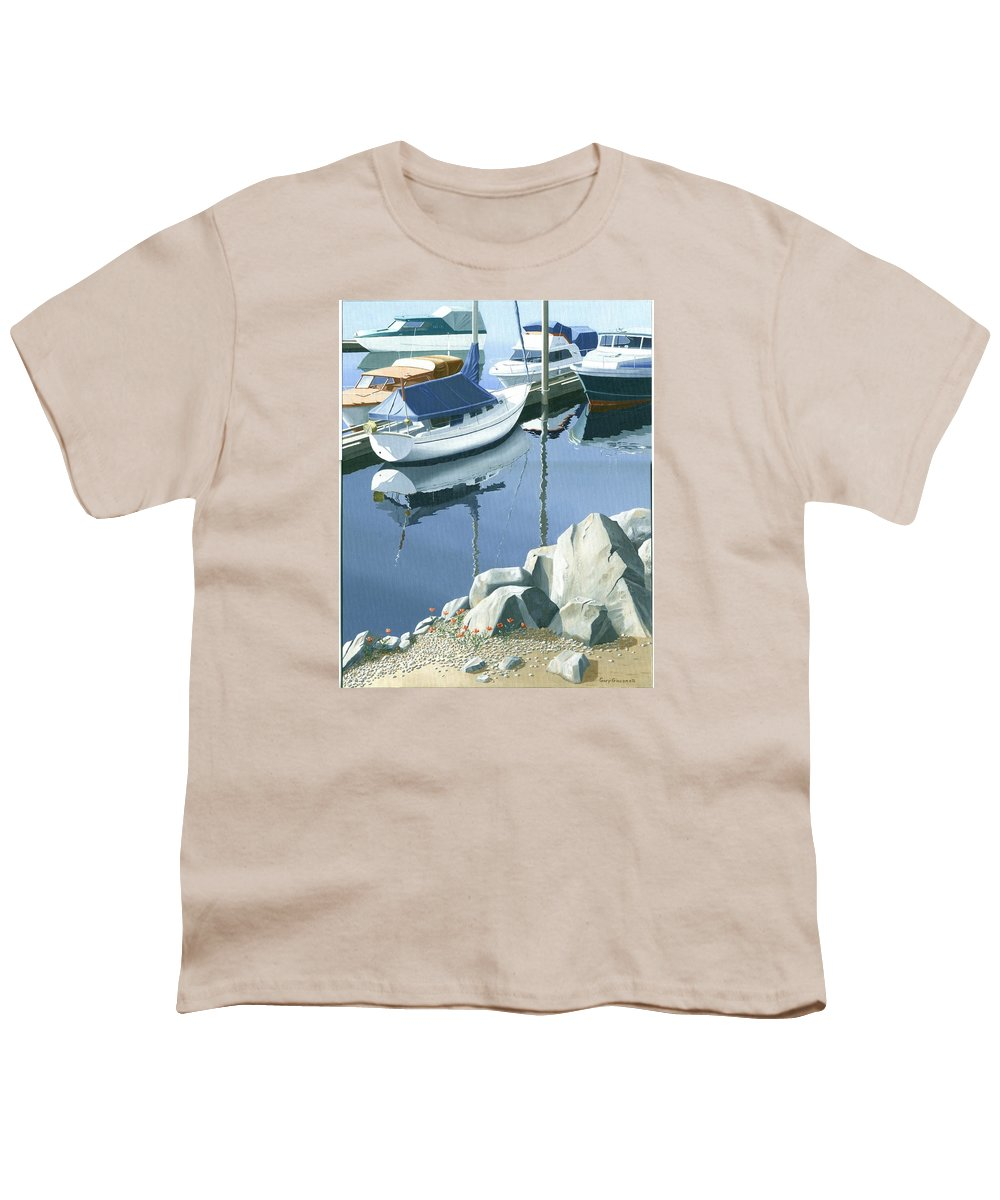 Sailboat Youth T-Shirt featuring the painting Wildflowers On The Breakwater by Gary Giacomelli