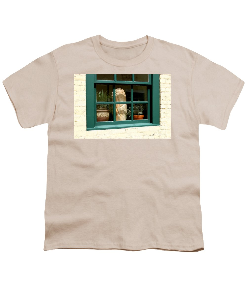Fern Youth T-Shirt featuring the photograph Window At Sanders Resturant by Steve Augustin