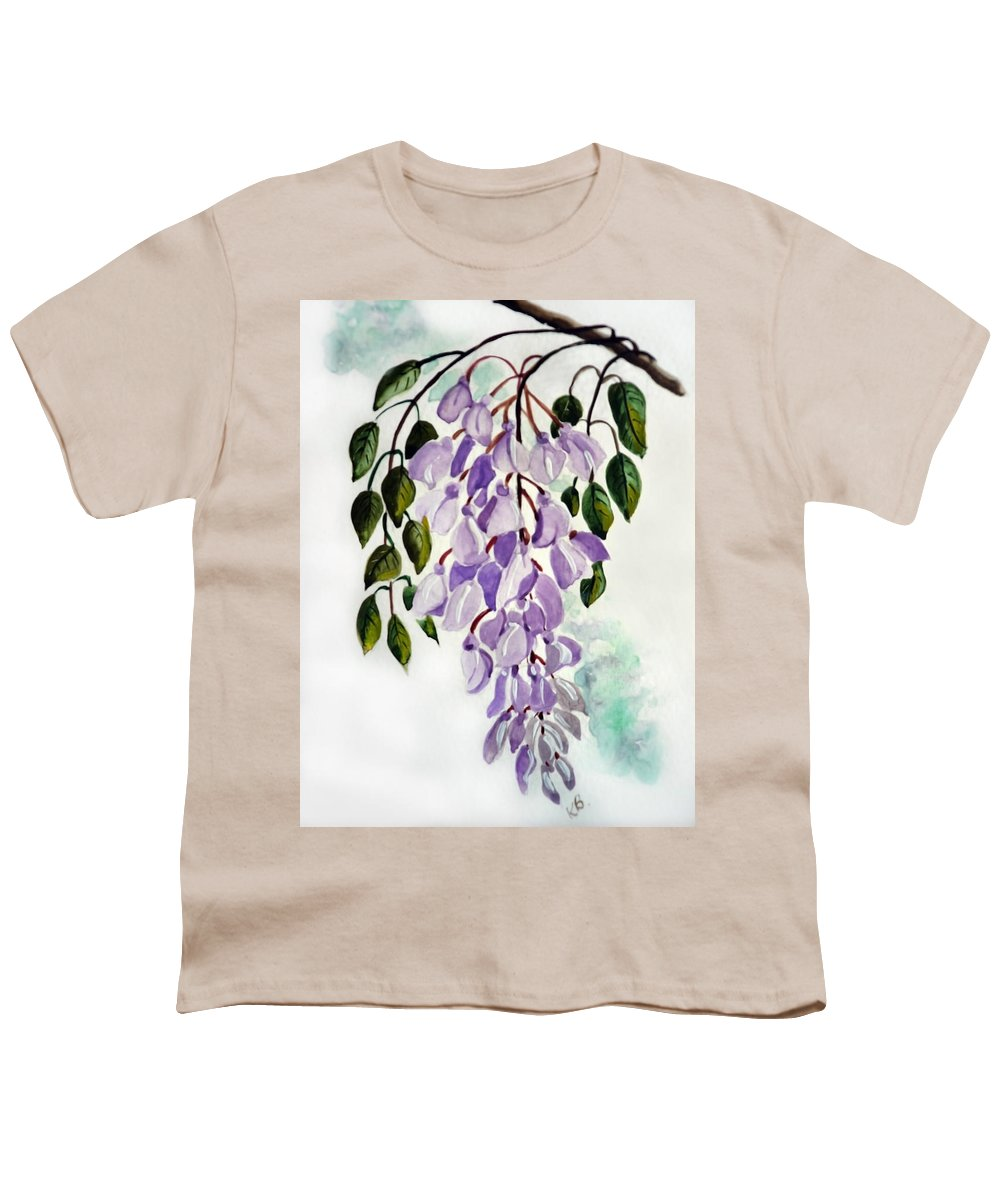 Floral Paintings Flower Paintings Wisteria Paintings Botanical Paintings Flower Purple Paintings Greeting Card Paintings  Youth T-Shirt featuring the painting Wisteria by Karin Dawn Kelshall- Best