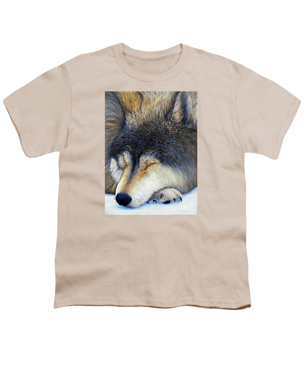 Wolf Youth T-Shirt featuring the painting Wolf Dreams by Brian Commerford