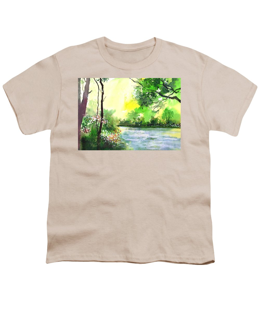 Sky Youth T-Shirt featuring the painting Yellow Sky by Anil Nene