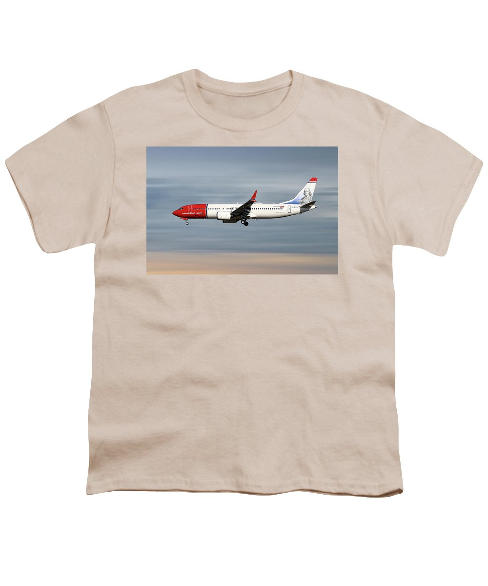 Norwegian Youth T-Shirt featuring the mixed media Norwegian Boeing 737 Max 8 by Smart Aviation