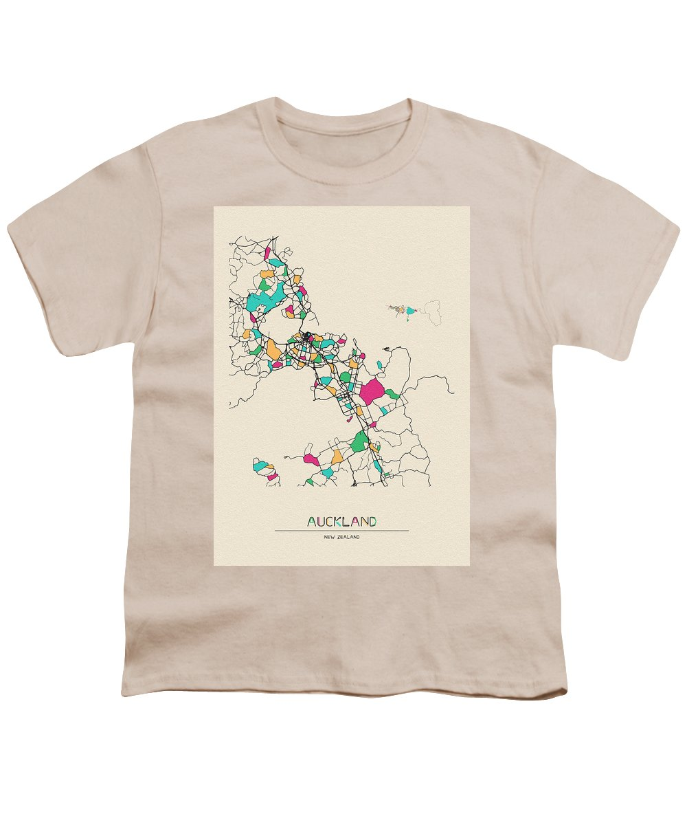 Auckland Youth T-Shirt featuring the digital art Auckland, New Zealand City Map by Inspirowl Design