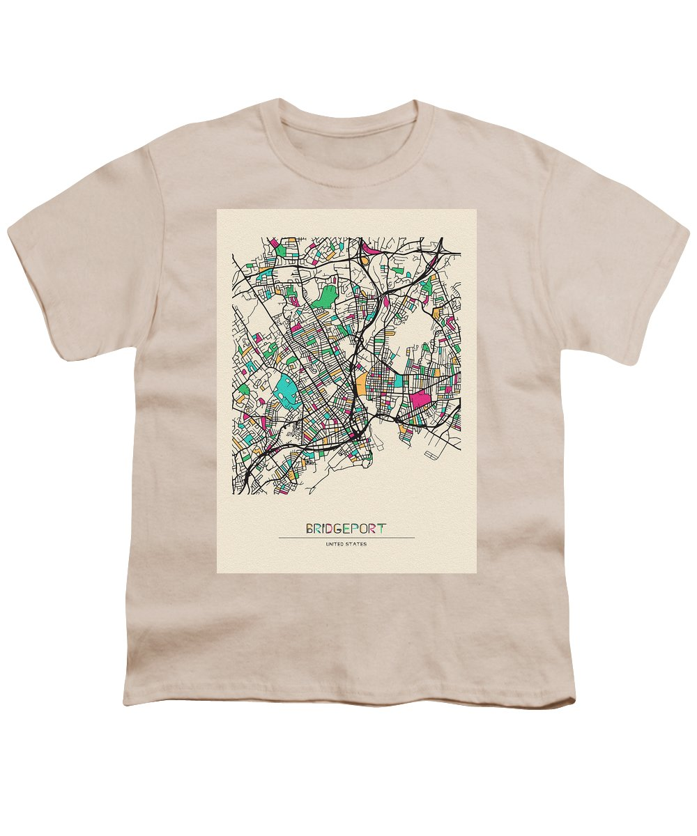 Bridgeport Youth T-Shirt featuring the drawing Bridgeport, United States City Map by Inspirowl Design