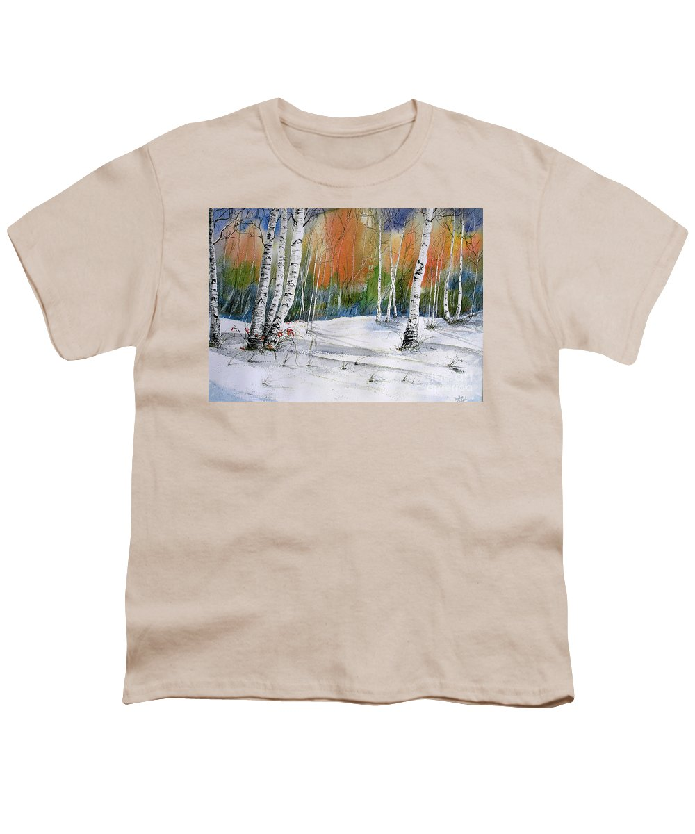 Snow Youth T-Shirt featuring the painting Winter Wonderland by Midge Pippel