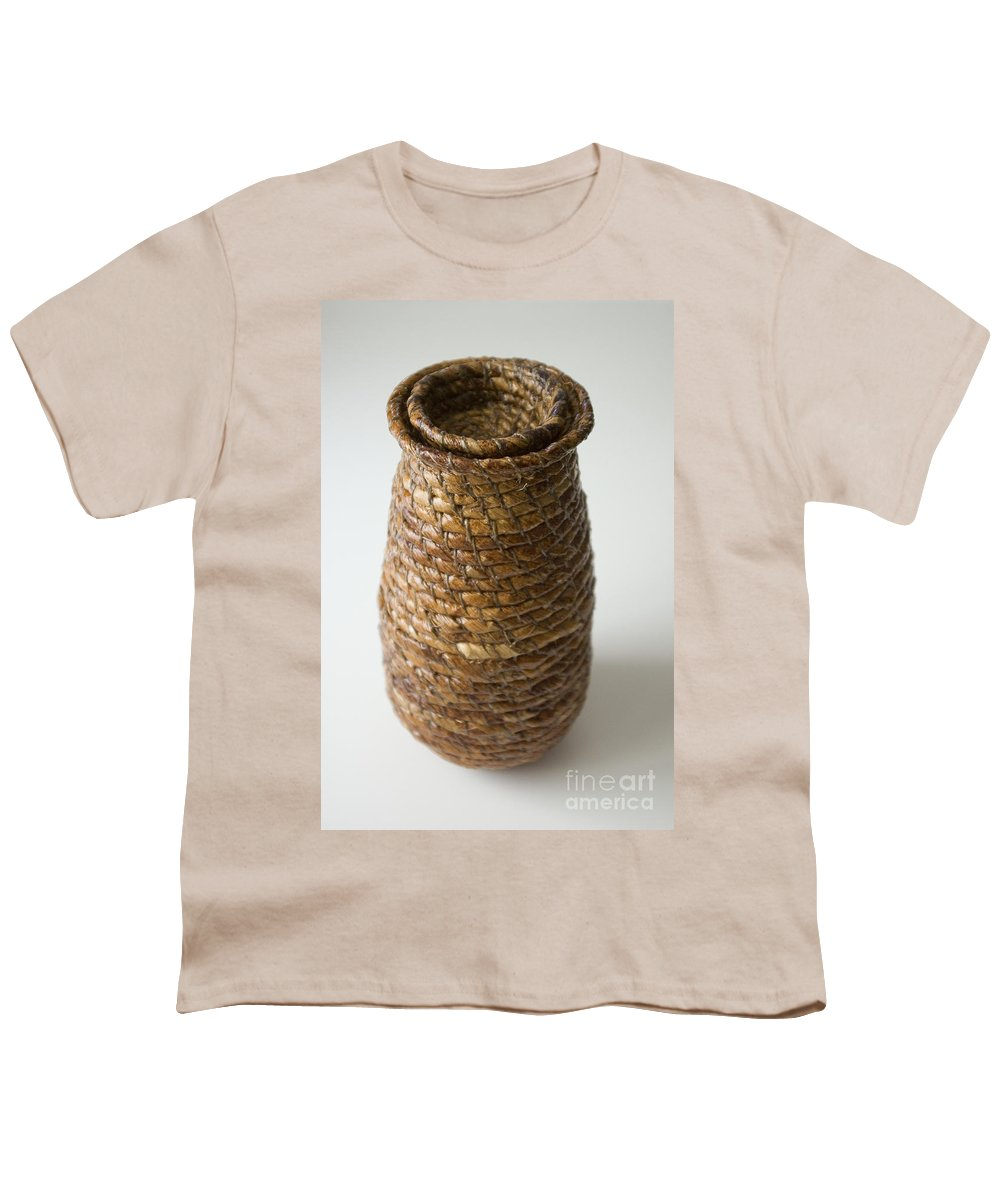 Banana-fibre Youth T-Shirt featuring the mixed media Cocoon Pod by Kerryn Madsen-Pietsch