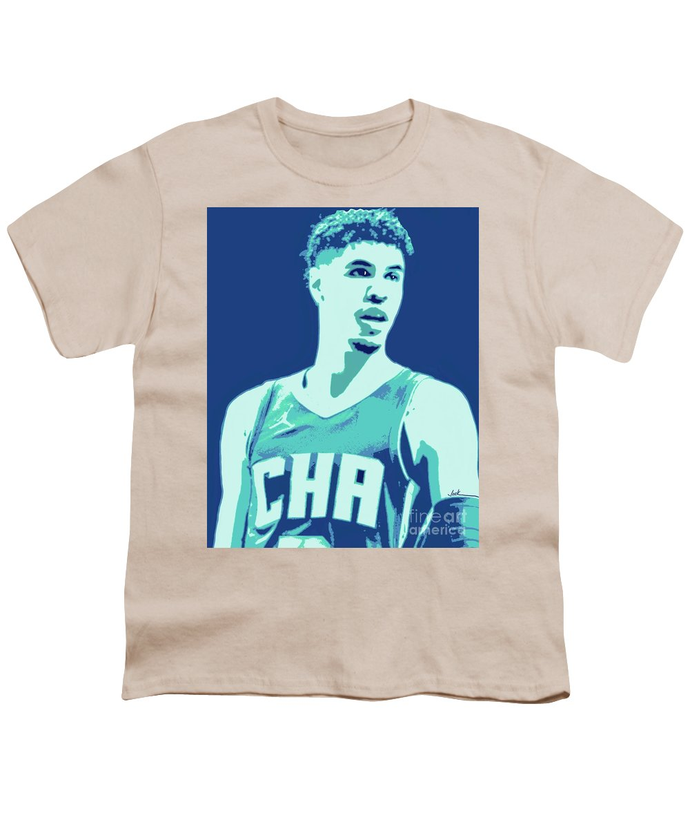 Lamelo Youth T-Shirt featuring the painting LaMelo Ball by Jack Bunds