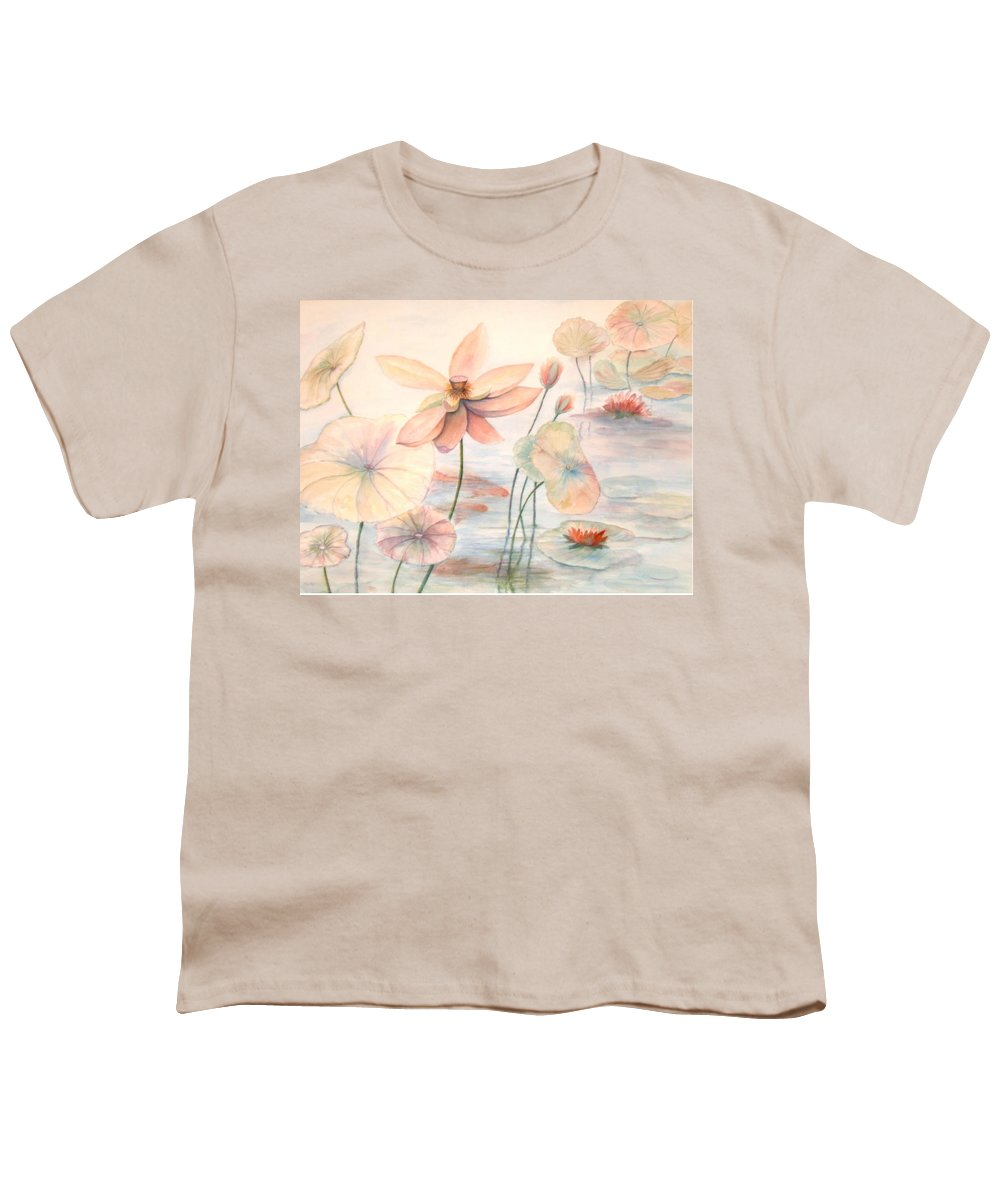 Lily Pads And Lotus Blossoms Youth T-Shirt featuring the painting Lily Pads by Ben Kiger
