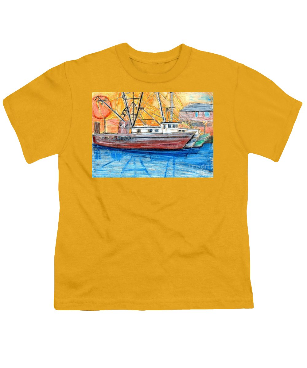 Fishing Youth T-Shirt featuring the drawing Fishing Trawler by Eric Schiabor