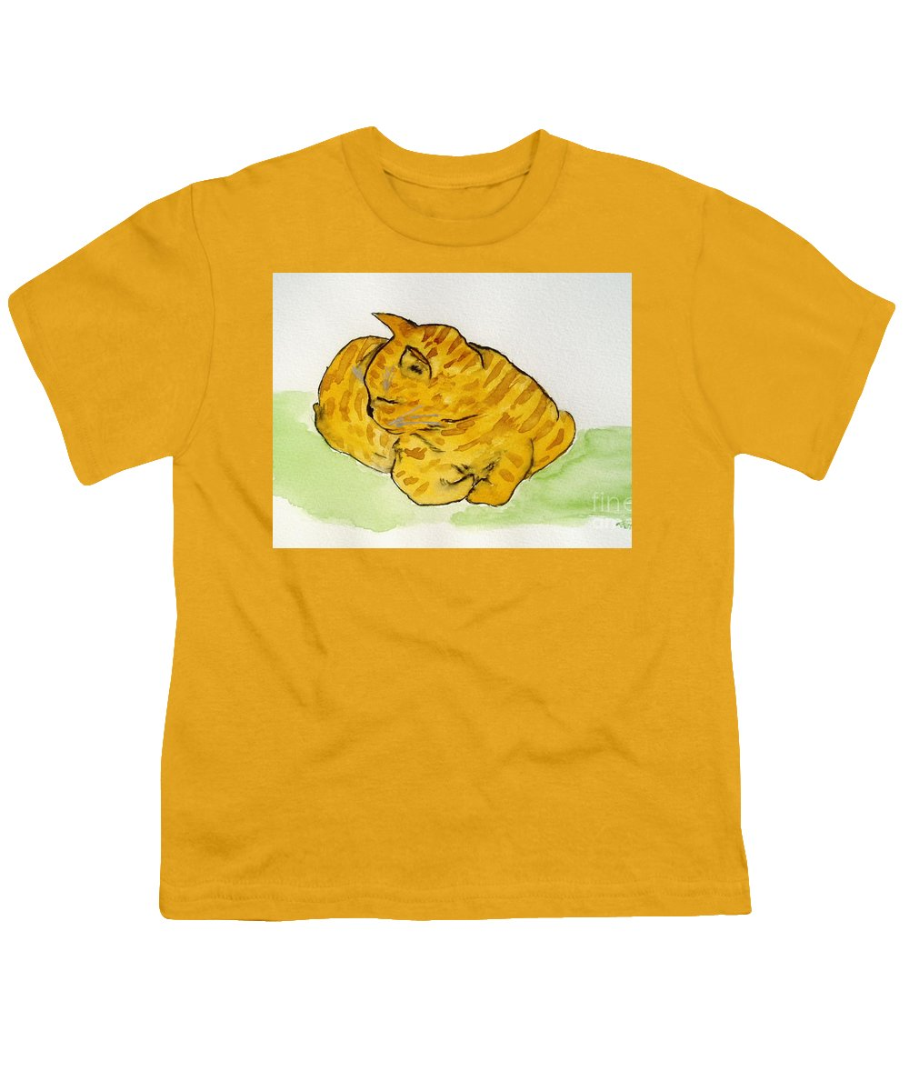 Cat Painting Youth T-Shirt featuring the painting Mr. Yellow by Reina Resto