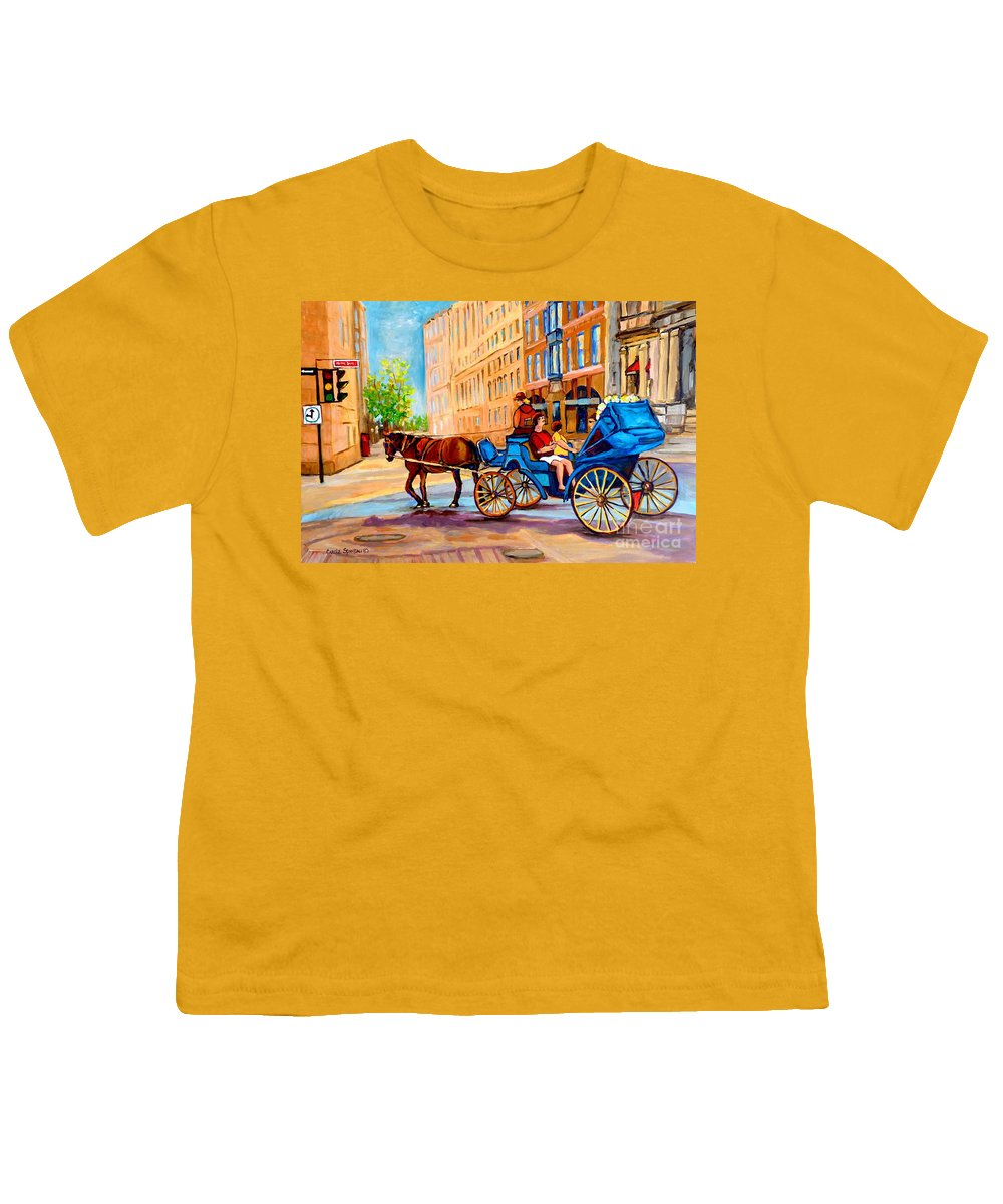 Rue Notre Dame Youth T-Shirt featuring the painting Rue Notre Dame Caleche Ride by Carole Spandau