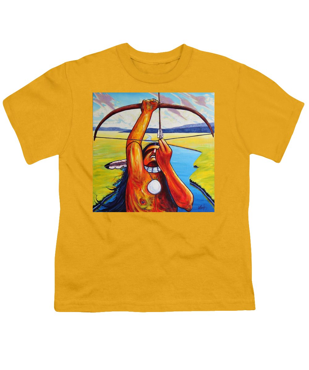 Native American Youth T-Shirt featuring the painting Shamans Prayer by Joe Triano
