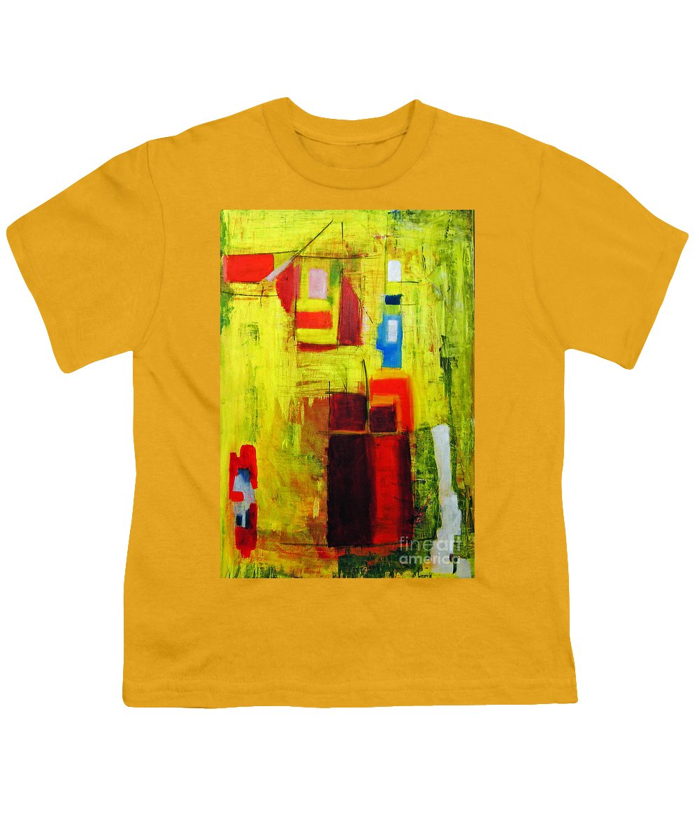 Abstract Painting Youth T-Shirt featuring the painting Yellow by Jeff Barrett