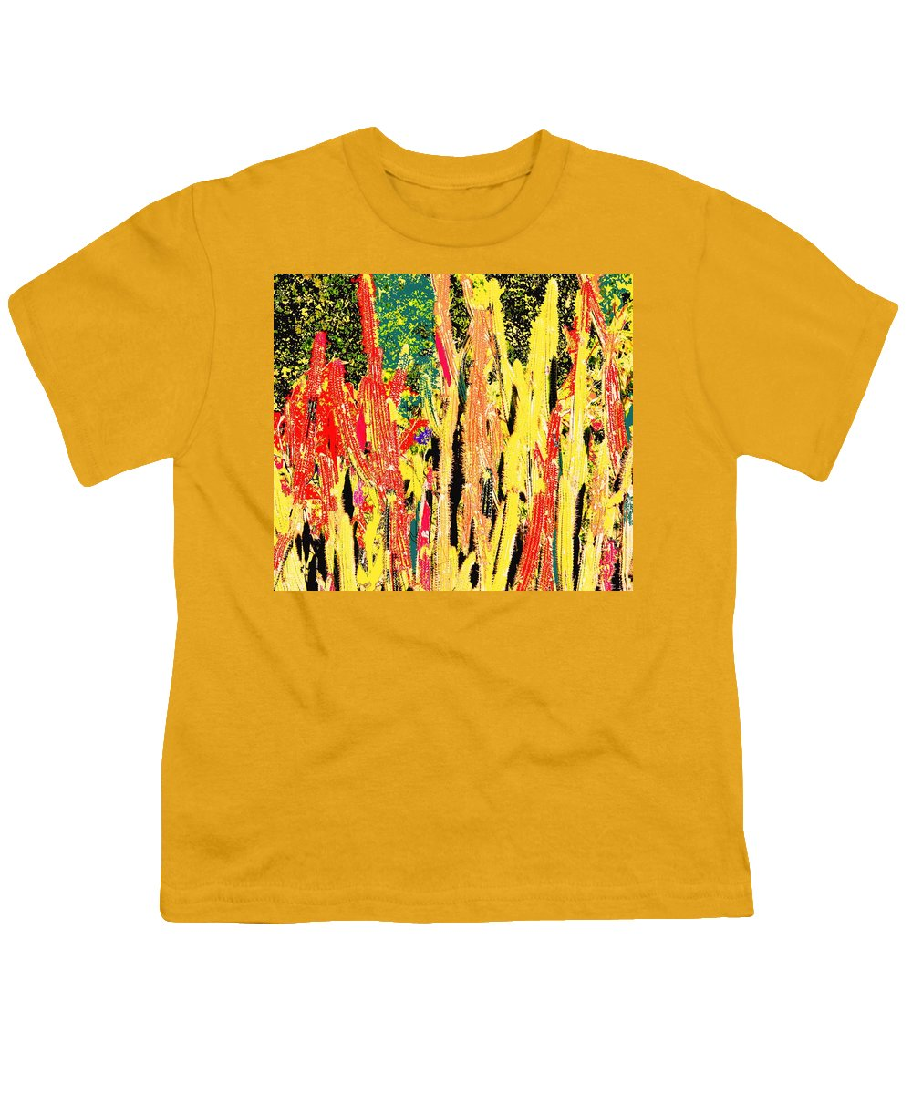 Cactus Youth T-Shirt featuring the digital art Bridgestone Cacti by Ian MacDonald