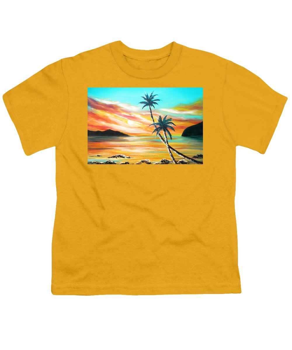 Sunset Youth T-Shirt featuring the painting Another Sunset In Paradise by Gina De Gorna