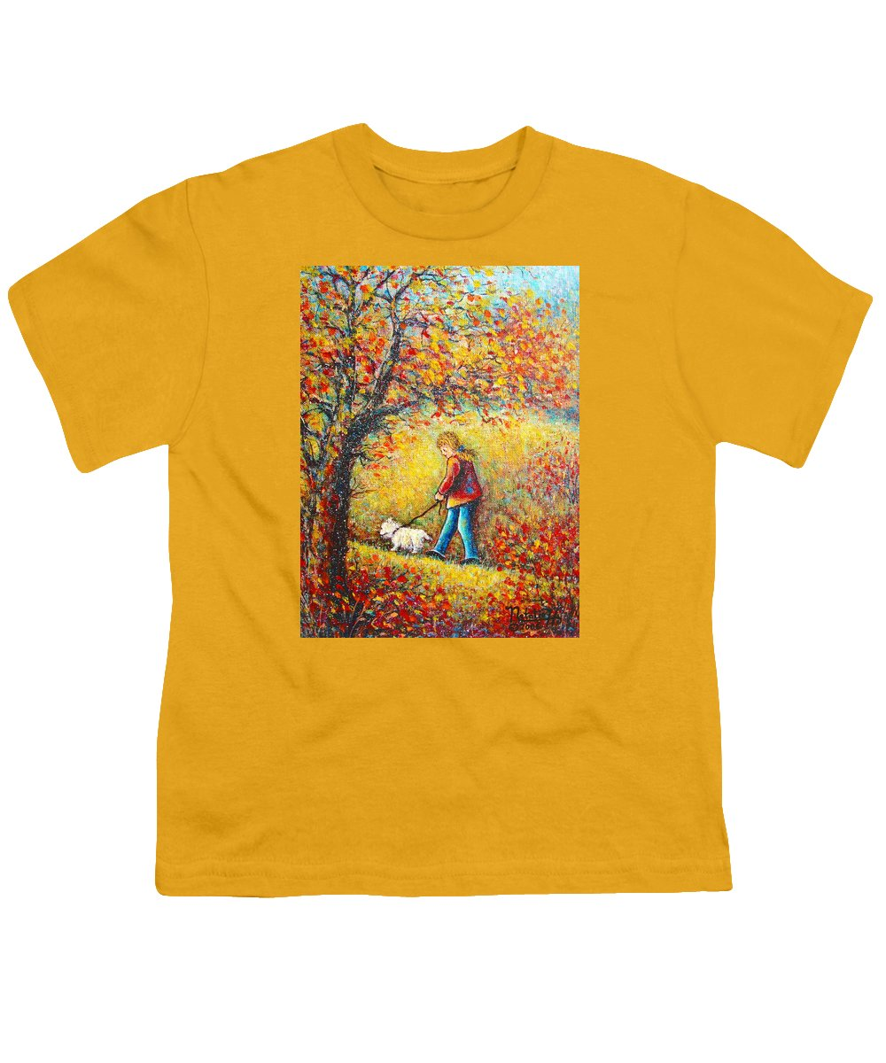 Landscape Youth T-Shirt featuring the painting Autumn Walk by Natalie Holland