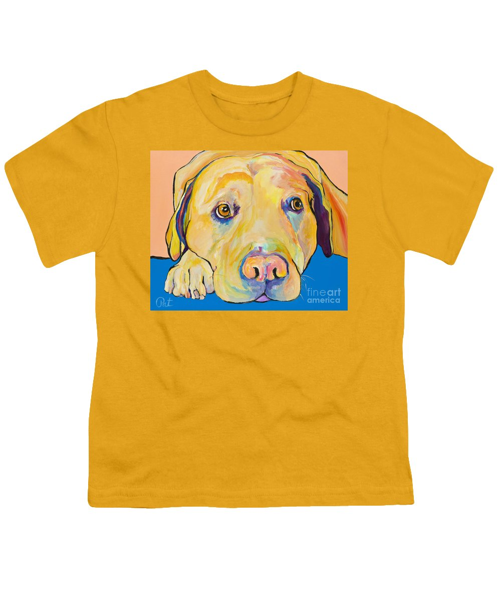 Dog Paintings Yellow Lab Puppy Colorful Animals Pets Youth T-Shirt featuring the painting Bath Time by Pat Saunders-White