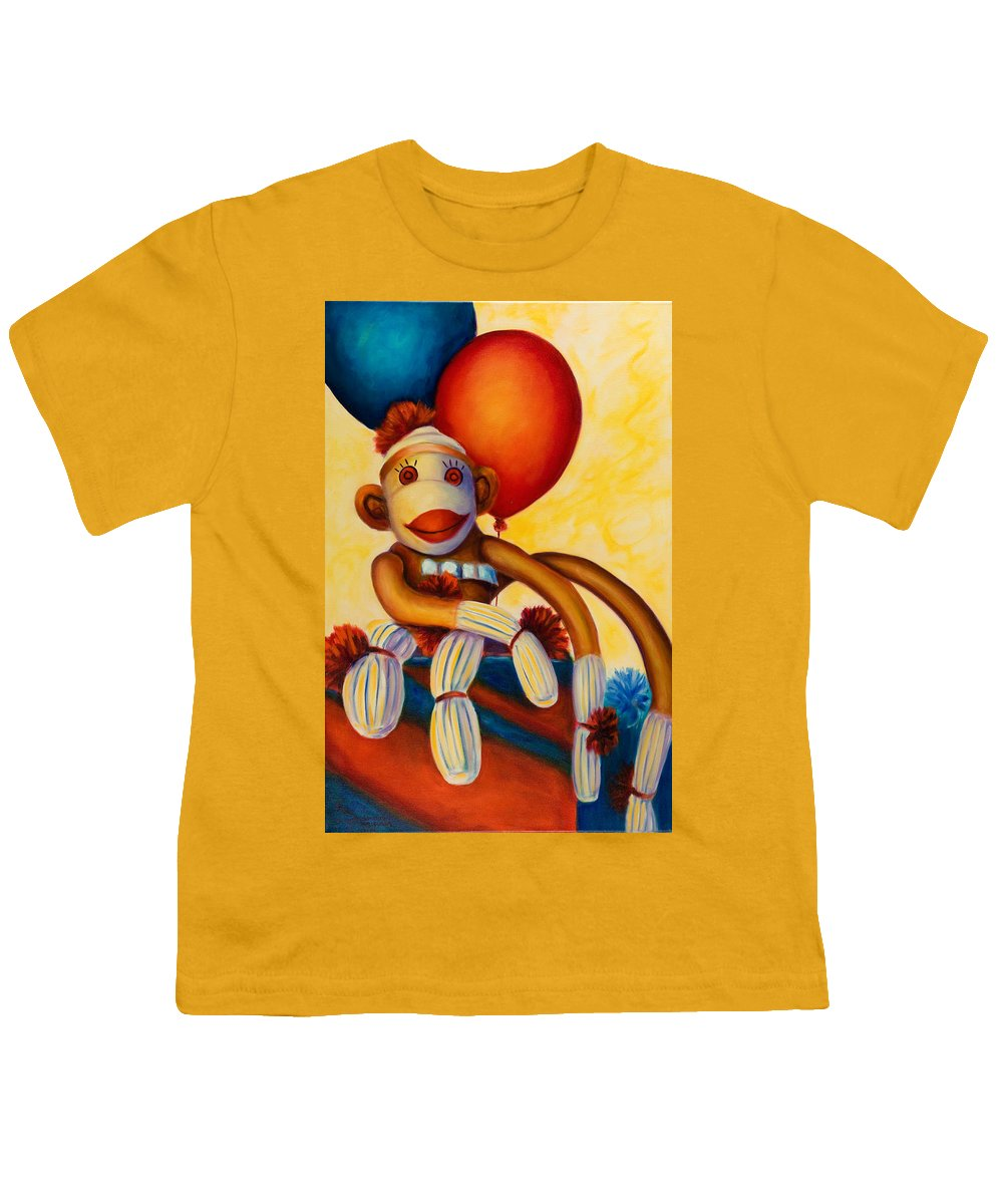 Sock Monkey Brown Youth T-Shirt featuring the painting Birthday Made Of Sockies by Shannon Grissom