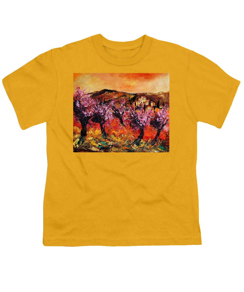 Provence Cherrytree Summer Spring Youth T-Shirt featuring the painting Blooming Cherry Trees by Pol Ledent