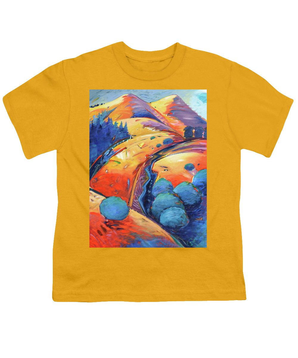 Hills Youth T-Shirt featuring the painting Blue And Gold by Gary Coleman
