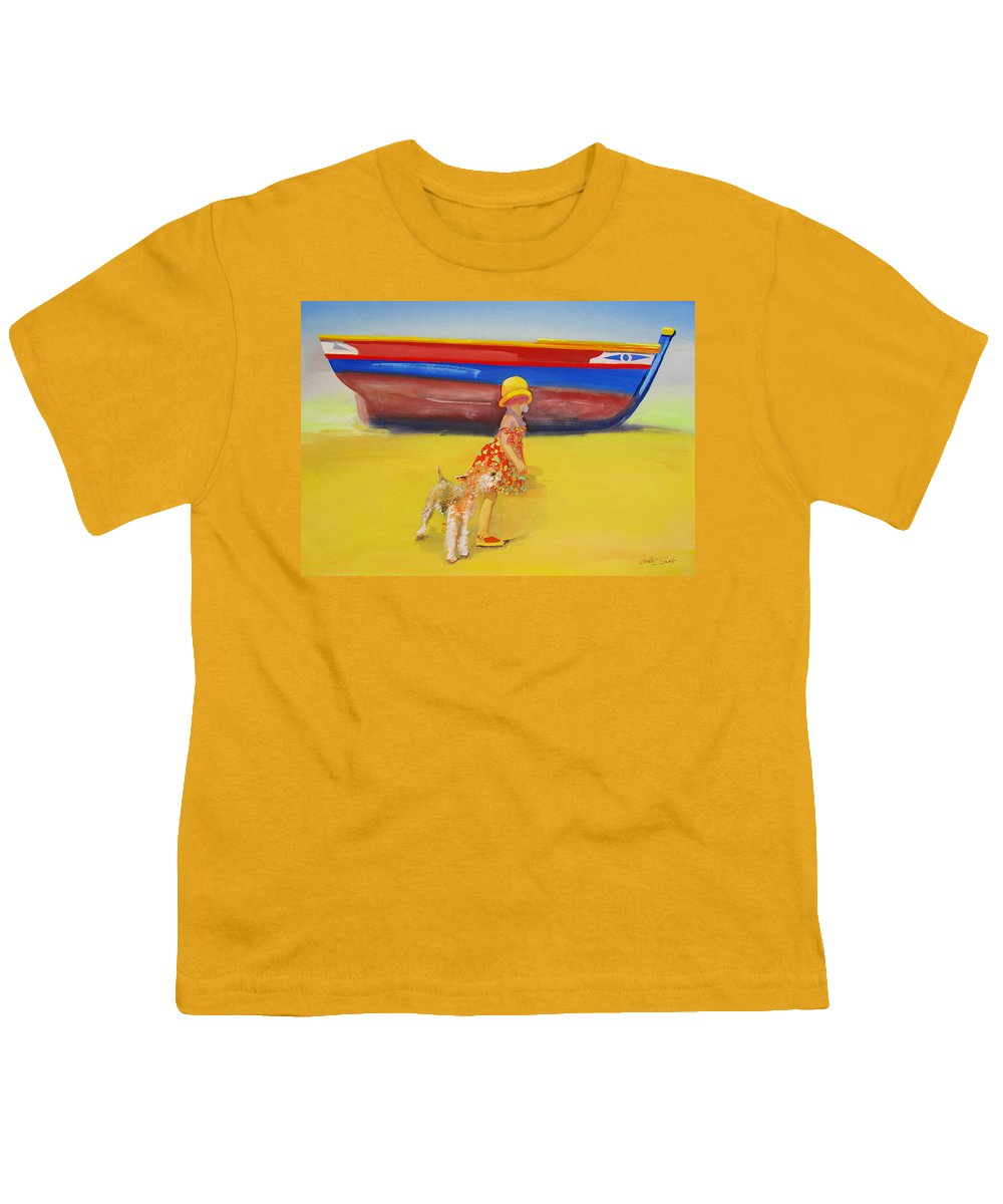 Wire Haired Fox Terrier Youth T-Shirt featuring the painting Brightly Painted Wooden Boats With Terrier And Friend by Charles Stuart