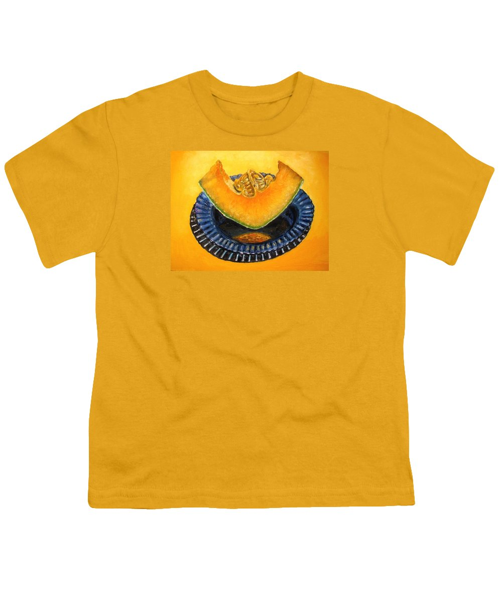 Cantaloupe Youth T-Shirt featuring the painting Cantaloupe Oil Painting by Natalja Picugina