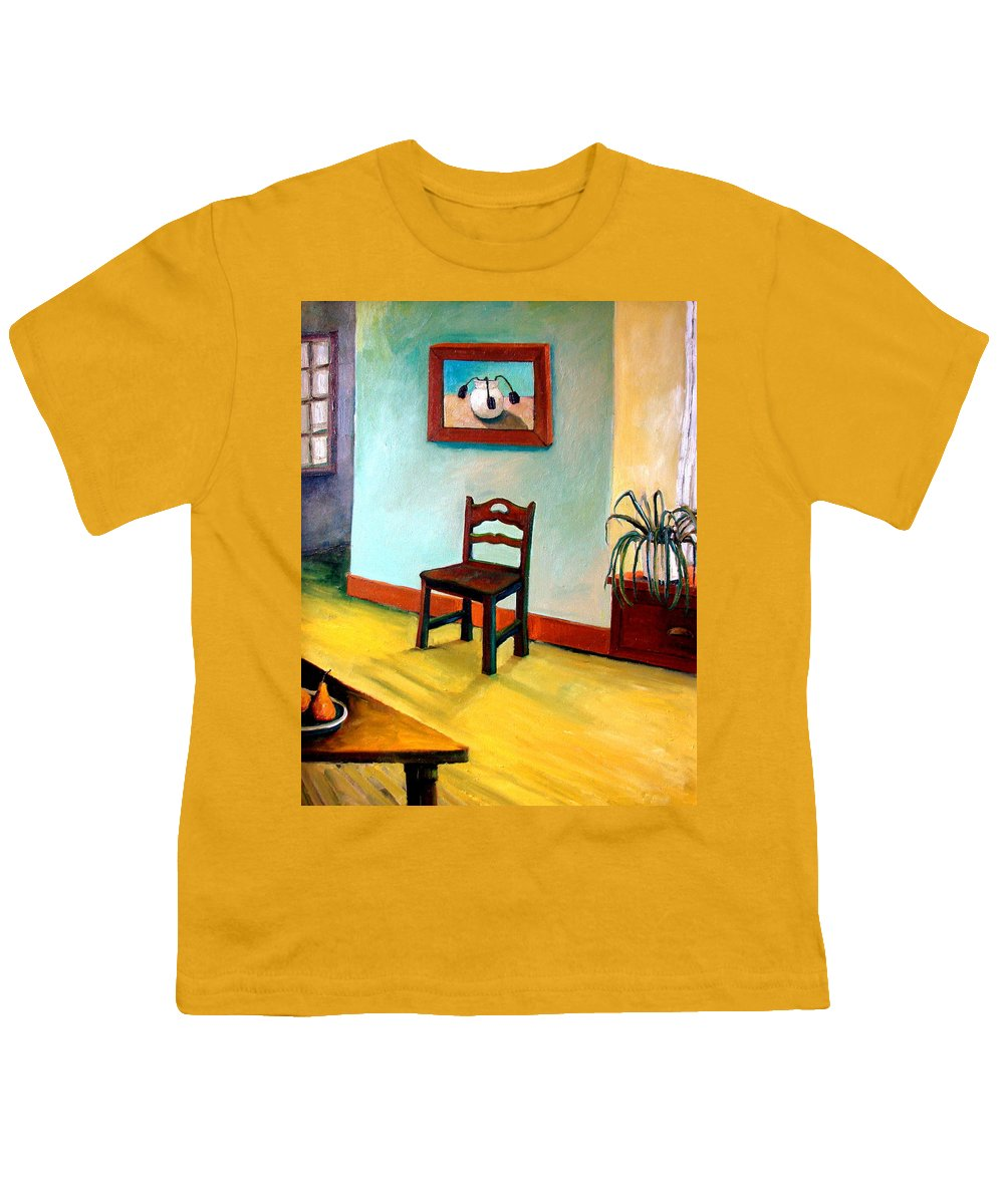 Apartment Youth T-Shirt featuring the painting Chair And Pears Interior by Michelle Calkins